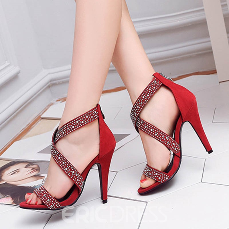 Ericdress Rhinestone Zipper Heel Covering Stiletto Sandals