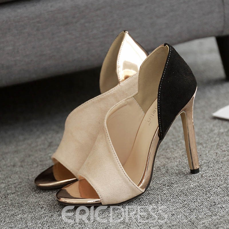 Ericdress Patchwork Color Block Peep Toe Stiletto Sandals