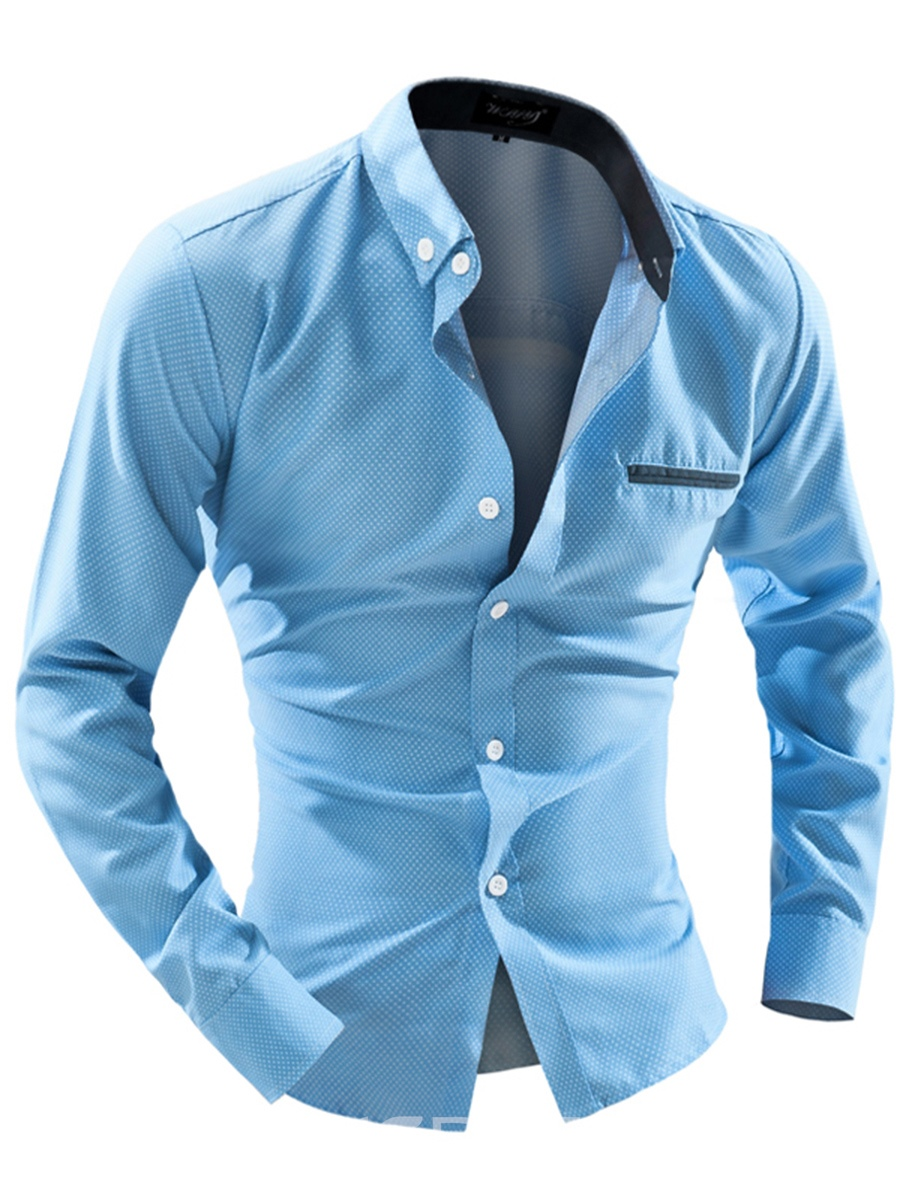Ericdress Plain Button Down Slim Fit Mens Casual Dress Shirts