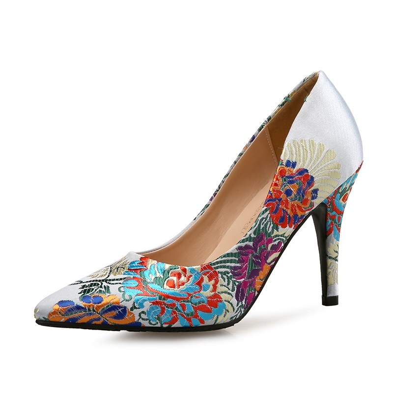 Ericdress Silk Fabric Embroidery Pointed Toe Stiletto Sandals