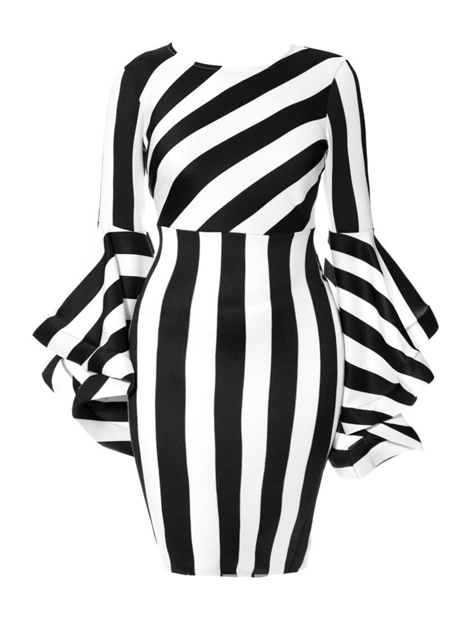 Ericdress Stripe Color Block Patchwork Plus Bodycon Dress