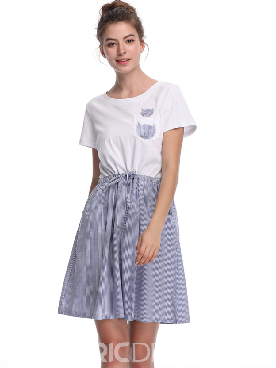 Ericdress White Stripe Patchwork Pullover A-Line Dress