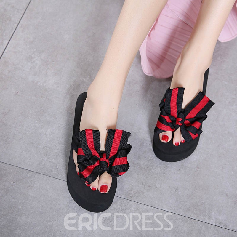 Ericdress Bowknot Color Block Slip-On Mules Shoes