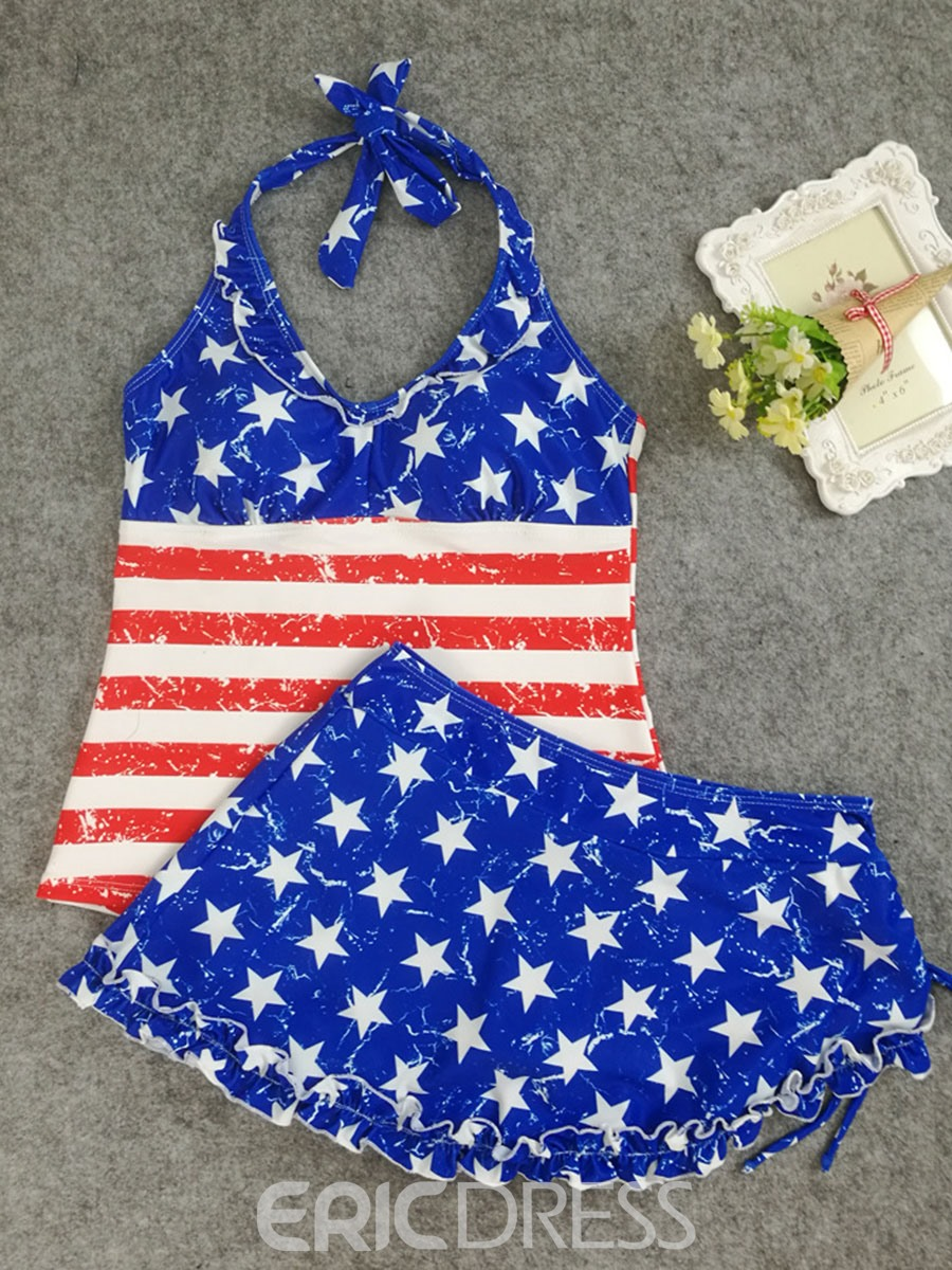 Ericdress American Flag Print Lace-Up Halter 2-Pcs Tankini Bathing Suits