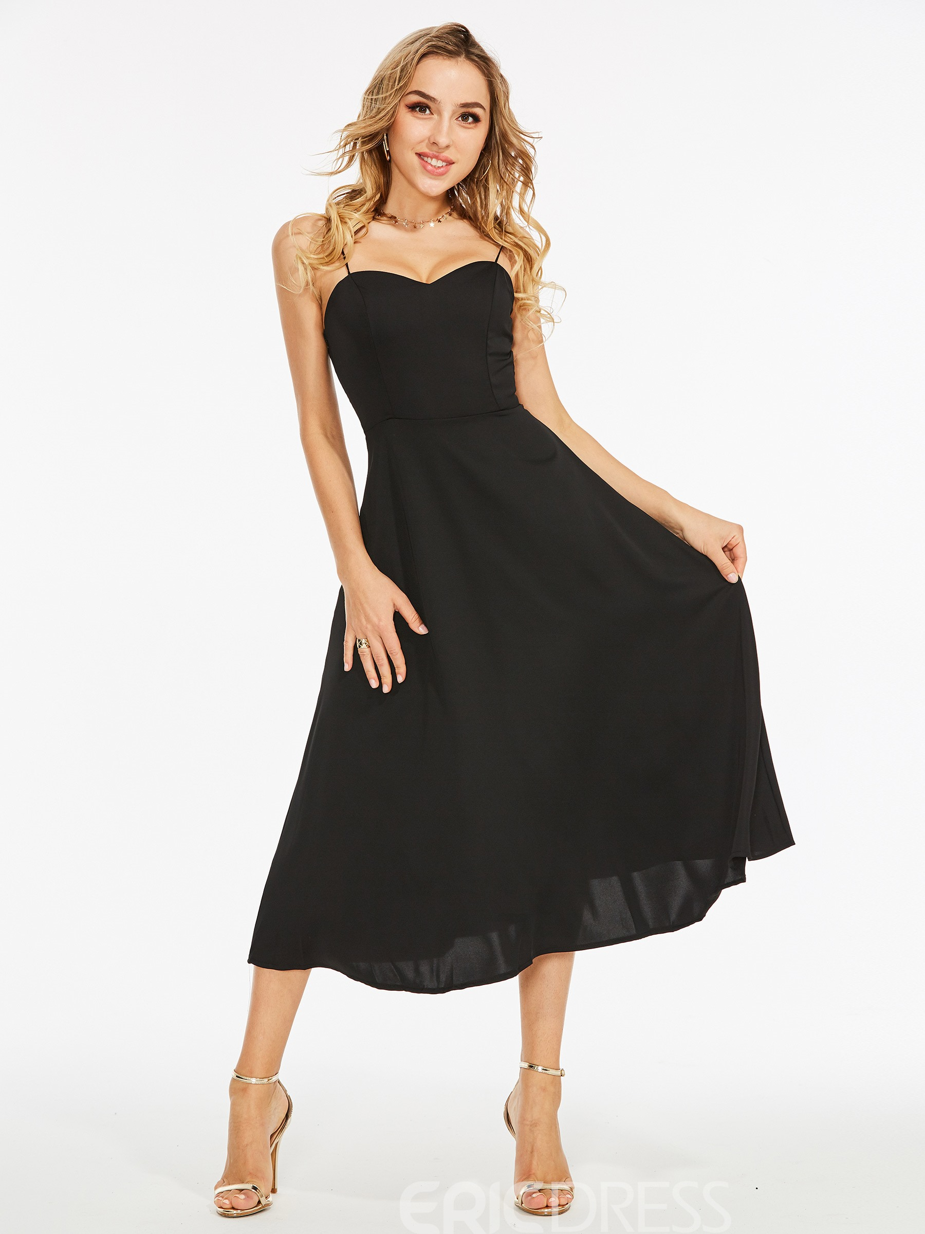 Ericdress Hollow Backless Spaghetti Strap A Line Dress