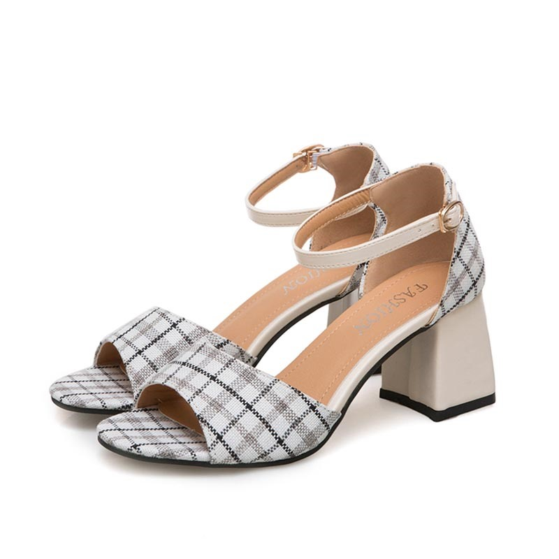 Ericdress Gingham Line-Style Buckle Chunky Sandals