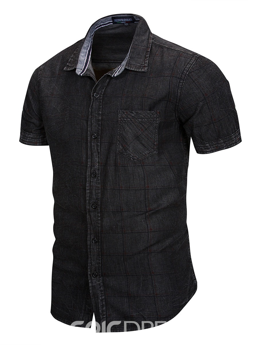 Ericdress Plaid Slim Fit Short Sleeve Mens Casual Shirts