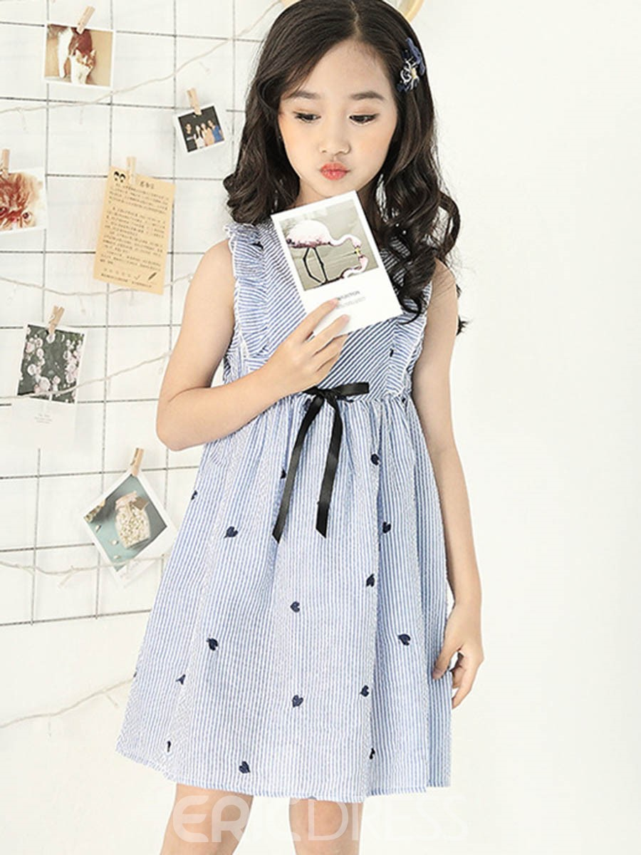 Ericdress Heart Shaped Bowknot Stripe Girl's Casual Dress