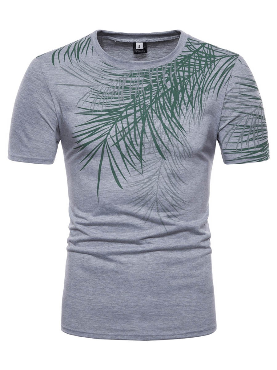 Ericdress Leaf Print Plain Mens Loose Summer T Shirt