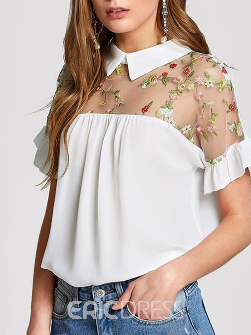 Ericdress Embroidery Patchwork Floral Blouse