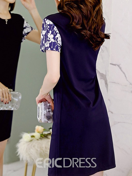 Ericdress Blue Patchwork Print Ladylike Casual Dress
