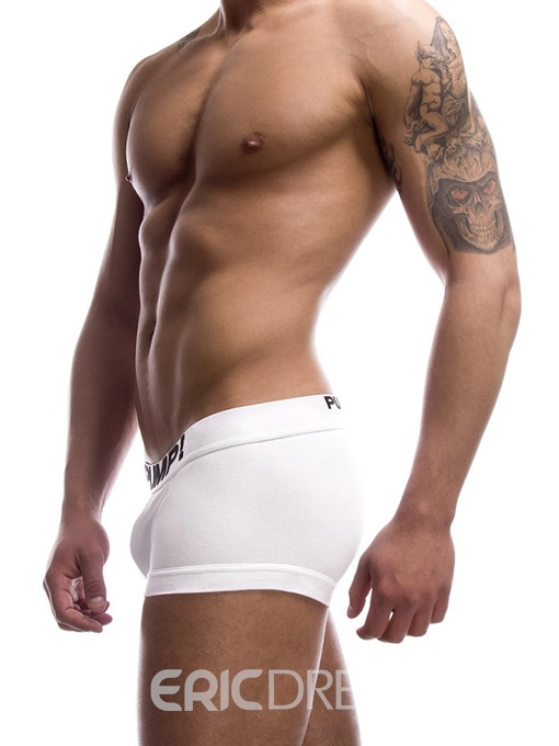 Ericdress Letter Low-Waist U Convex Cotton Boxer Briefs for Men