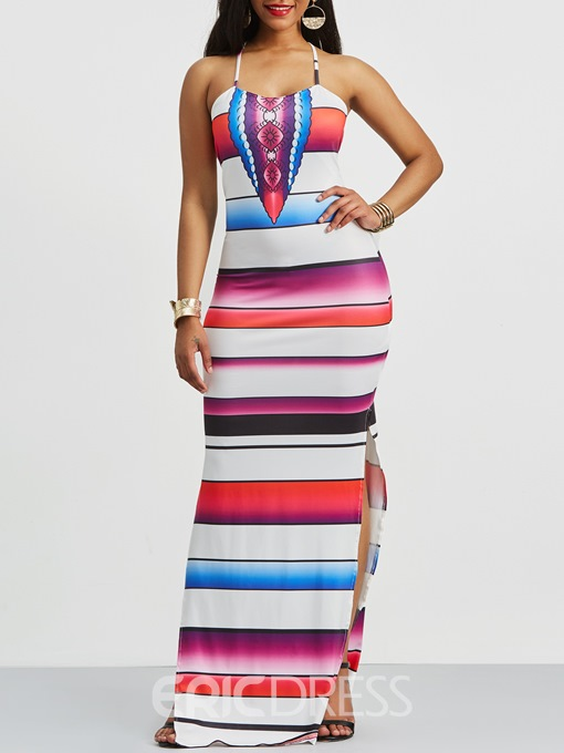 Ericdress Rose Hollow Backless Stripe Color Block Casual Dress