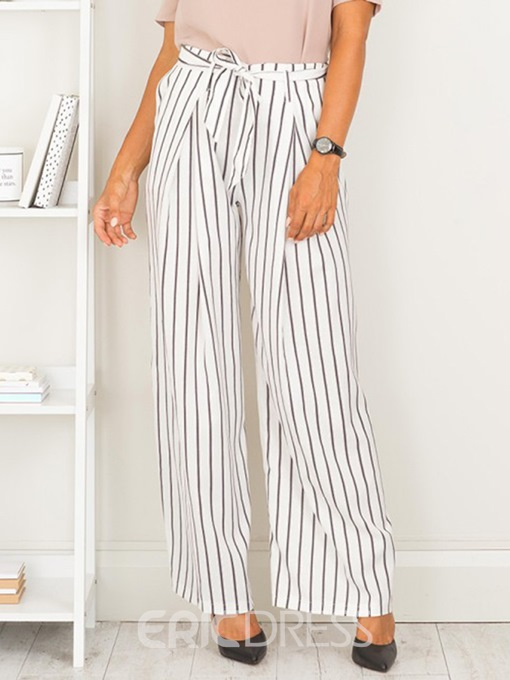 Ericdress Loose Striped Lace-Up Women's Pants
