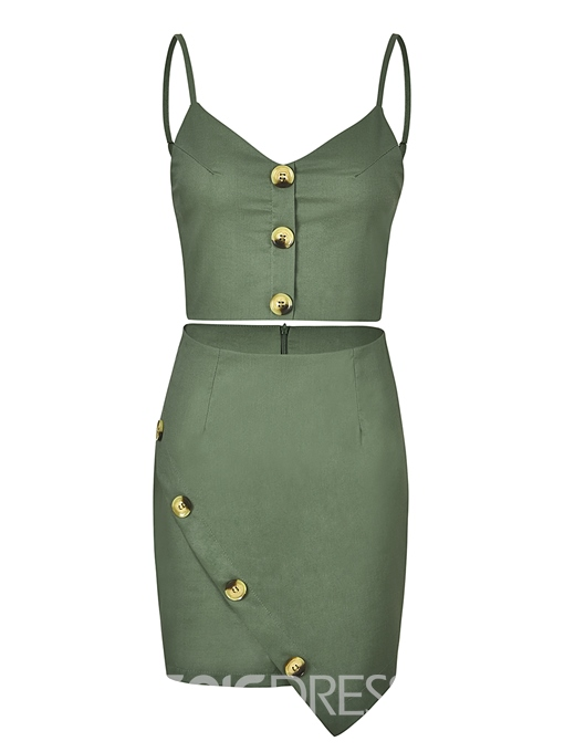 Ericdress Button Vest and Skirt Women's Two Piece Set