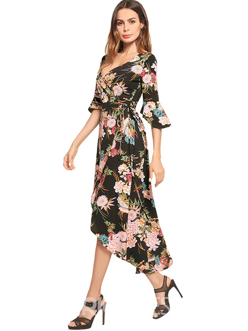 Ericdress V-Neck Flare Sleeve Floral Lace-Up Maxi Dress