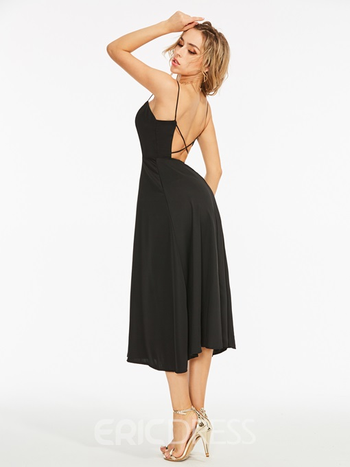 Ericdress Hollow Backless Spaghetti Strap A-Line Dress