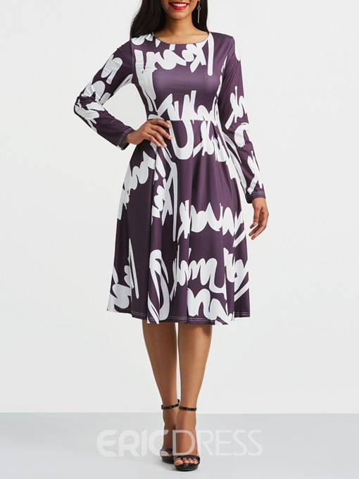 Ericdress Floral Color Block Pullover Casual Dress