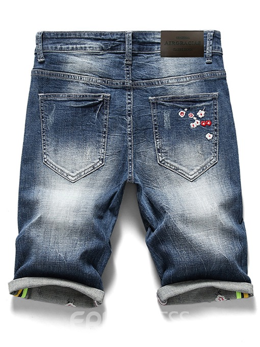 Ericdress Straight Worn Embroidery Beading Mens Casual Shorts