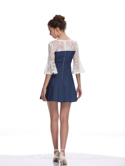 Ericdress Blue Patchwork Lace Flare Sleeve A-Line Dress