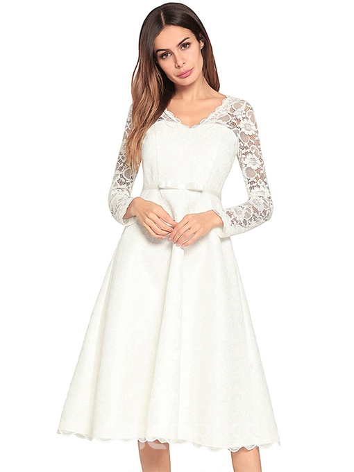 Ericdress V-Neck Trumpet Zipper Lace Dress