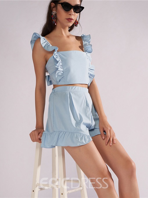 Ericdress Ruffles Vest and Shorts Women's Two Piece Set