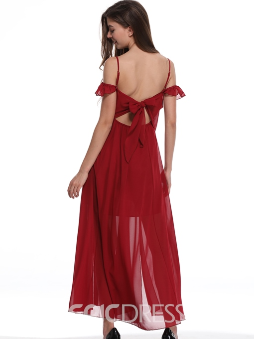 Ericdress Burgundy Backless Lace-Up Split Sexy Casual Dress