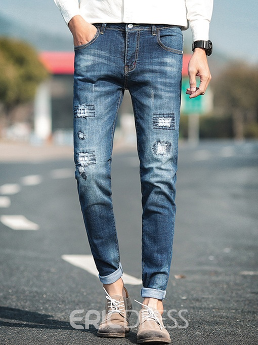 Ericdress Straight Ripped Mens Zip Casual Jeans