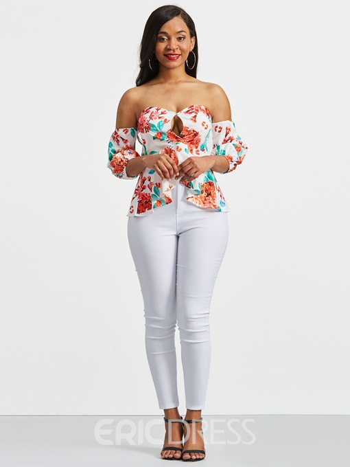 Ericdress Slim Floral Print Off Shoulder Short Sleeve Top