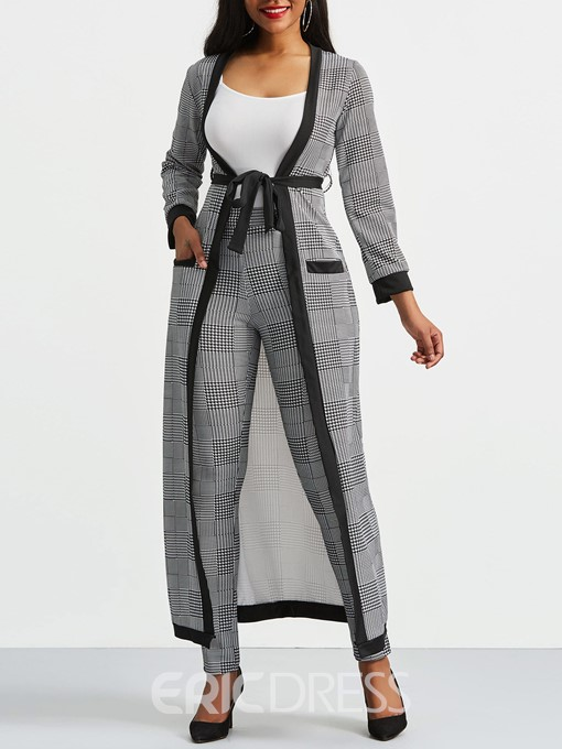 Ericdress Patchwork Pocket Vest and Trench Coat and Pants Women's Suit