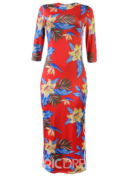Ericdress Floral Pullover Ladylike Bodycon Dress