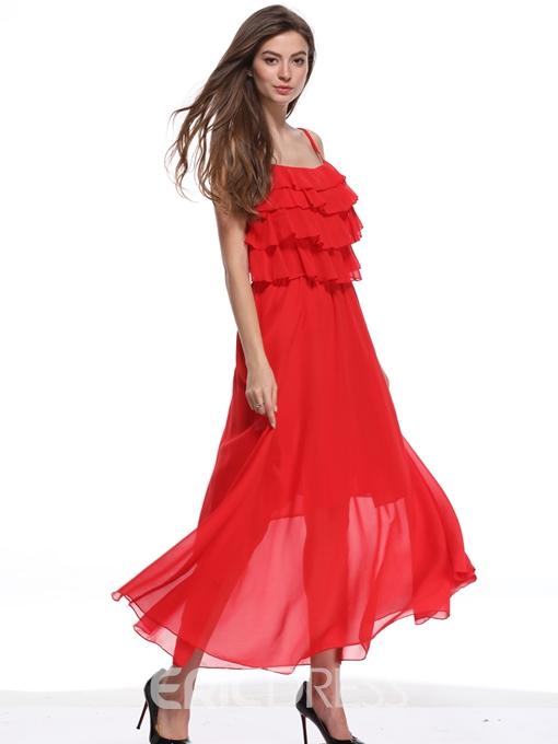 Ericdress Red Heap Front Ruffles Expansion Casual Dress