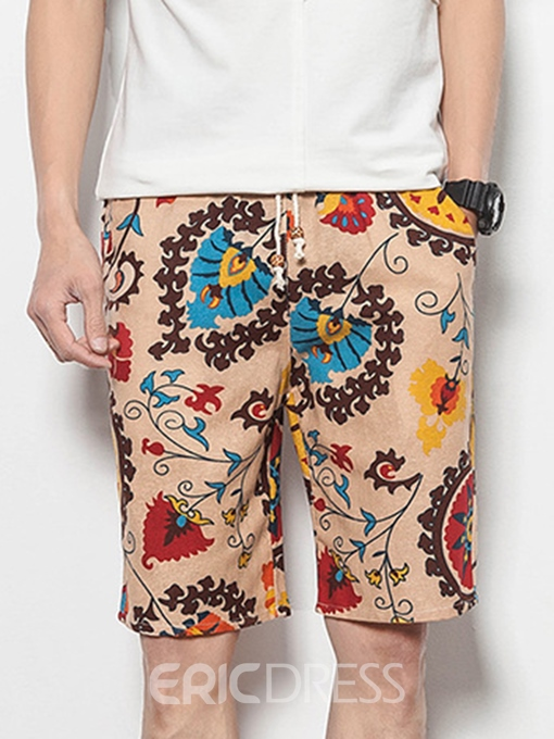 Ericdress Floral Print Lace UP Mens Beach Board Summer Shorts