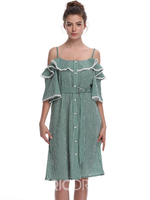 Ericdress Gingham Ruffles Single-Breasted A-Line Dress