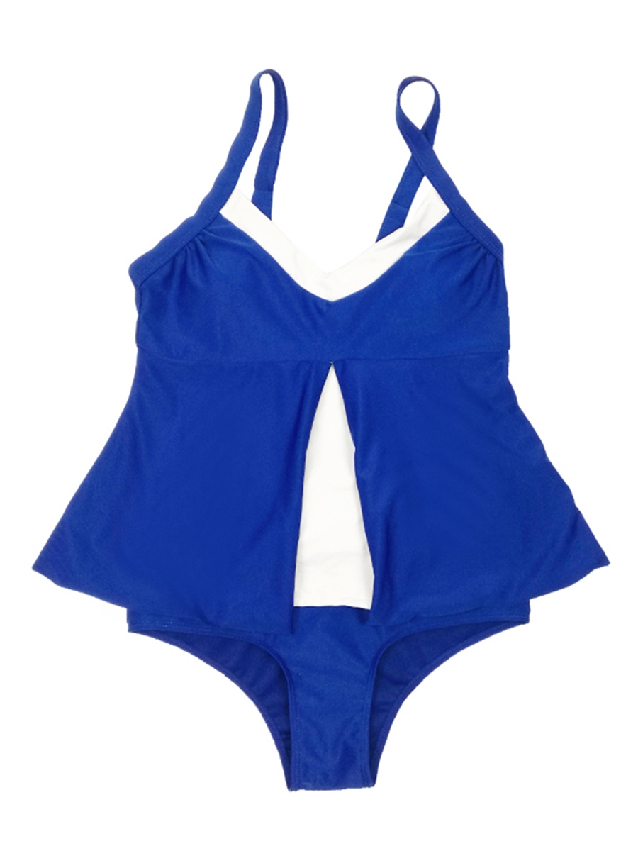 Ericdress Plus Size Blue One Piece Bathing Suits