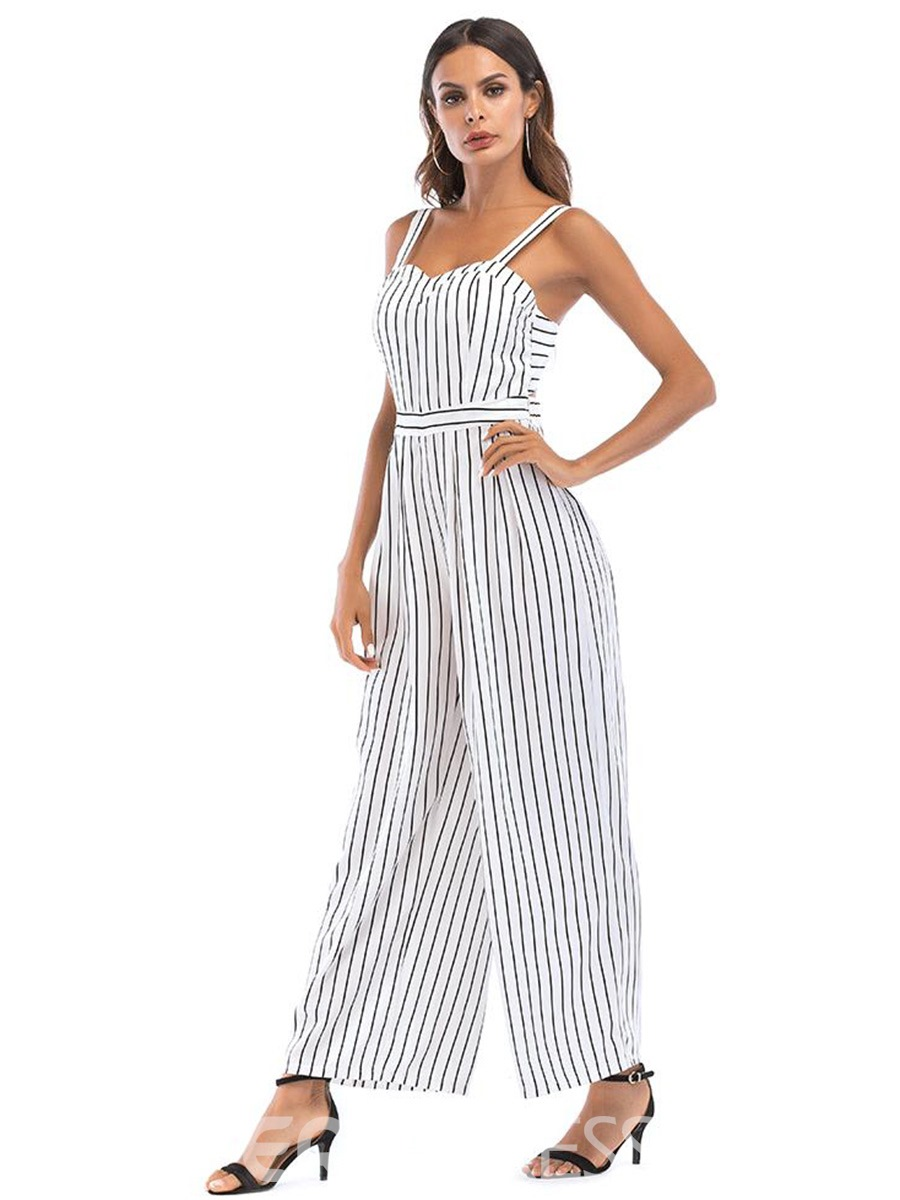 Ericdress Bowknot Stripe Wide Leg Women's Jumpsuit