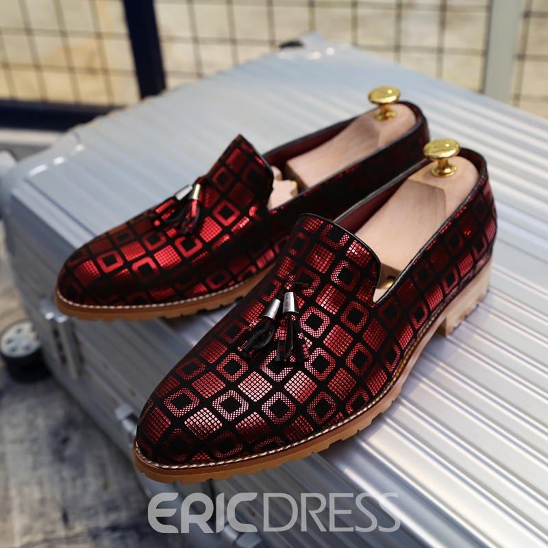 Ericdress PU Plaid Slip-On Round Toe Men's Oxfords