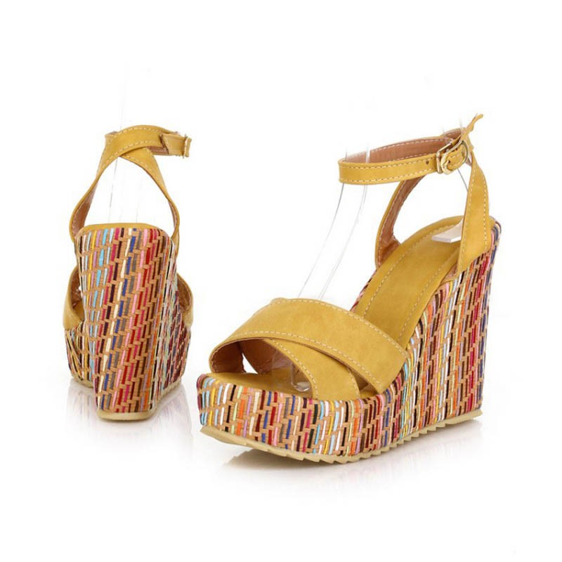 EricdressPlatform Ankle Strap Peep Toe Wedge Sandals
