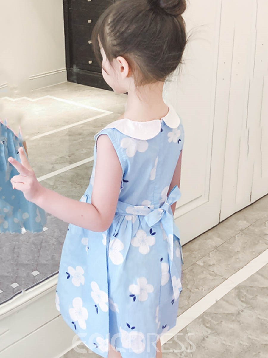 Ericdress Floral Print Peter Pan Collar Girl's Summer Dress