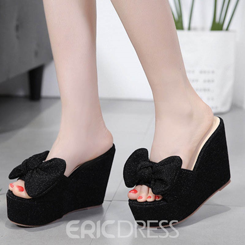Ericdress Bowknot Slip On Wedge Mules Shoes 13261535 Ericdresscom