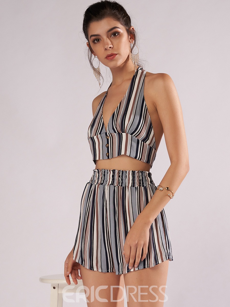 Ericdress Stripe Vest and Shorts Women's Two Piece Set