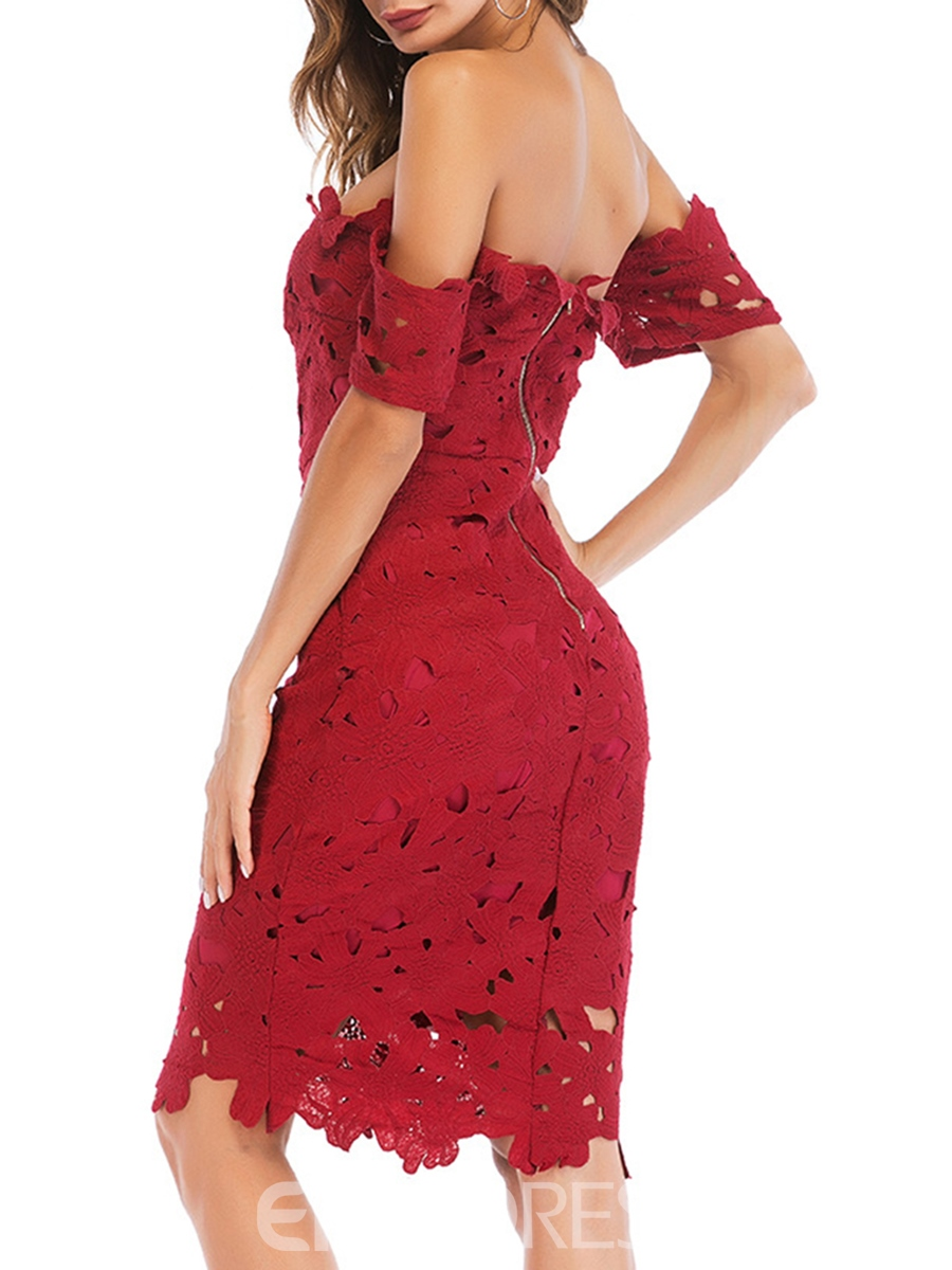 Ericdress Burgundy Hollow Pullover Sexy Bodycon Dress