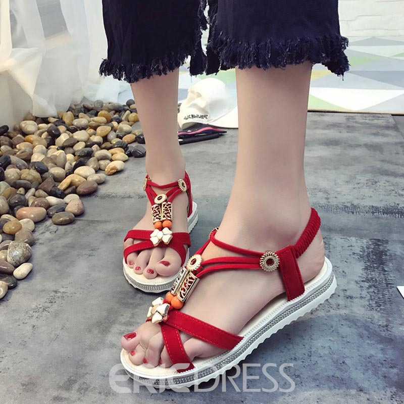 Ericdres Cloth Plain Elastic Band Strappy Flat Sandals