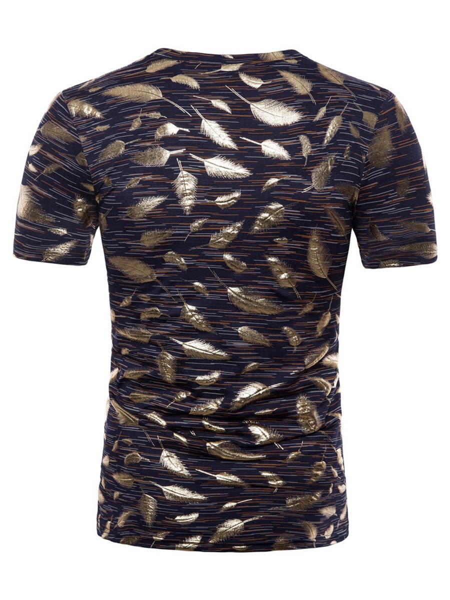 Ericdress Golden Feather Print Loose Mens Scoop T Shirt