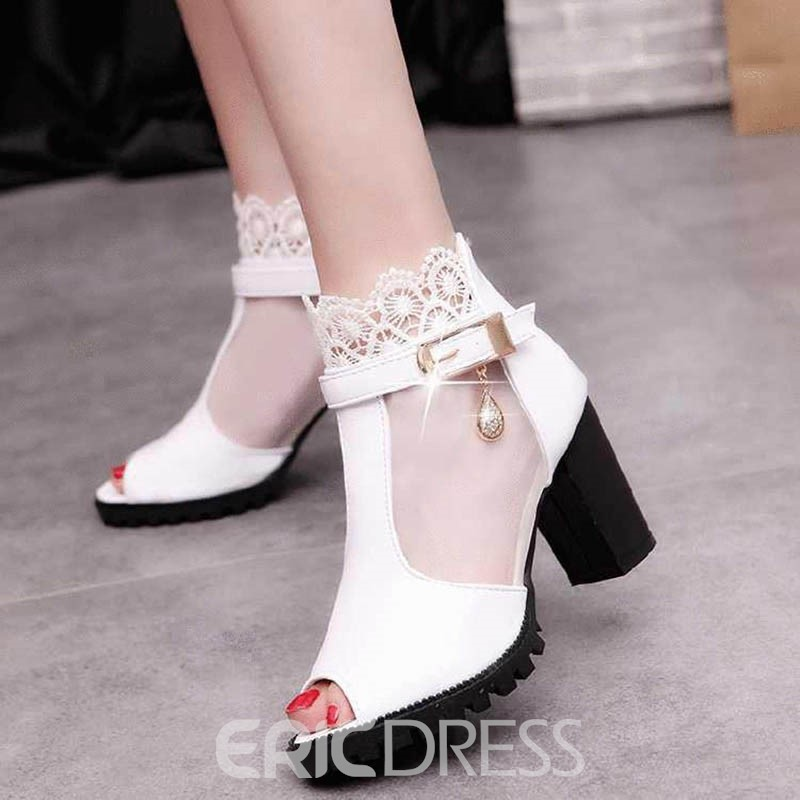 Ericdress Lace Peep Toe Chunky Sandals with Rhinestone