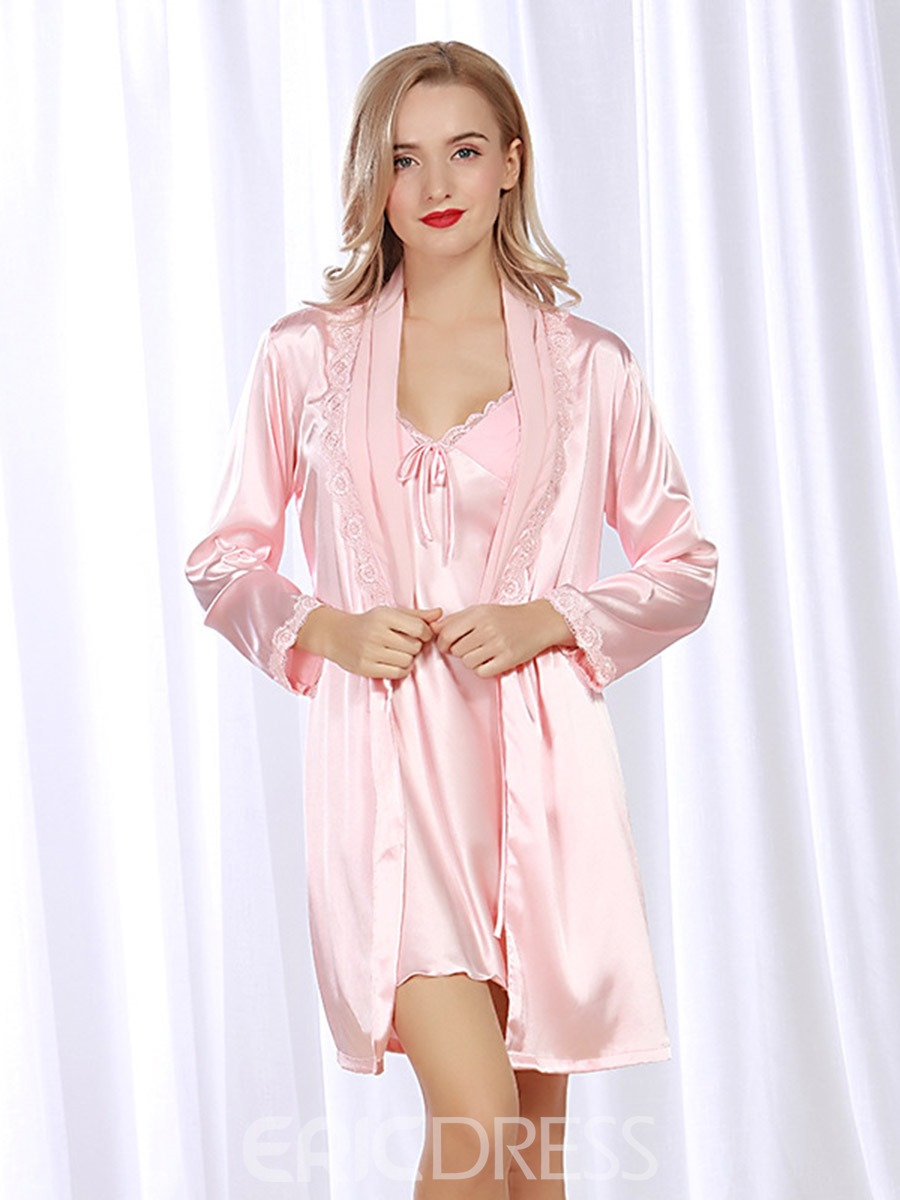 Ericdress Satin V-Neck Bowknot Nightgown with Long Sleeve Robe Two-Pieces