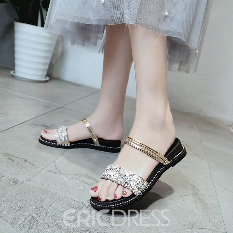 Ericdress Sequin Slip-On Ankle Strap Flat Sandals