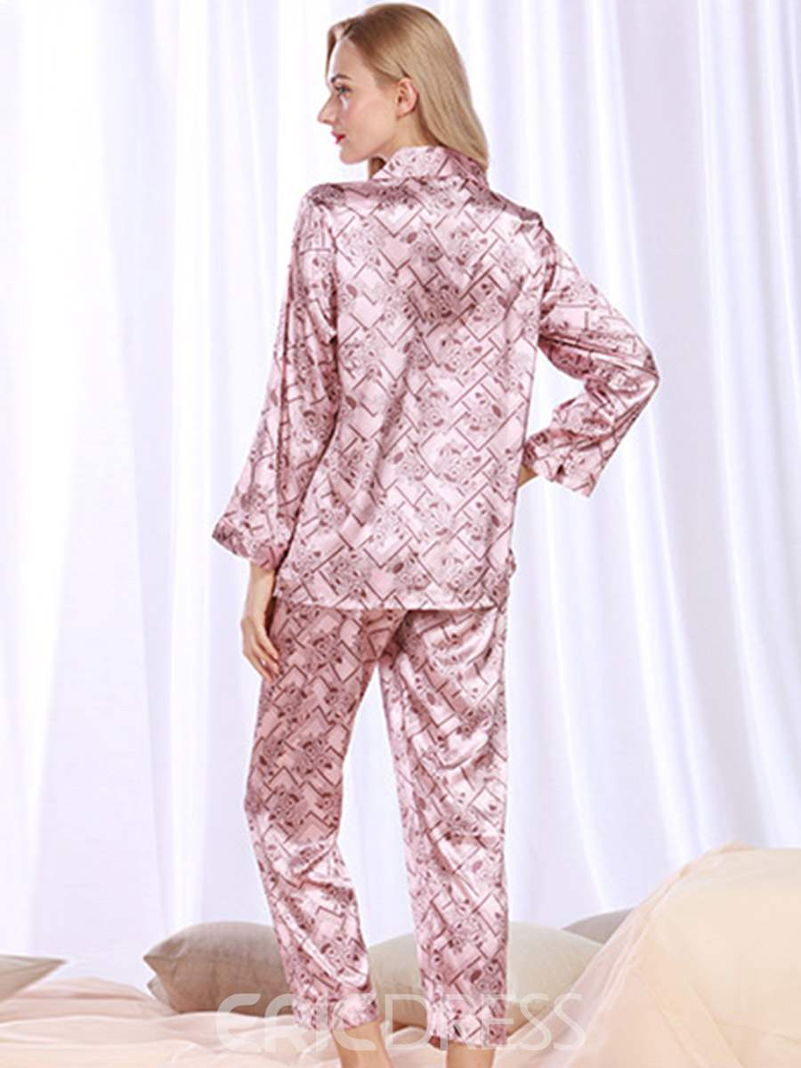 Ericdress Floral Single-Breasted Charmeuse Long Sleepwear