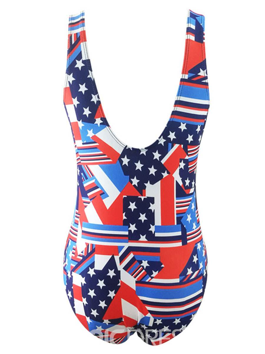 Ericdress American Flag Print One Piece Bathing Suits