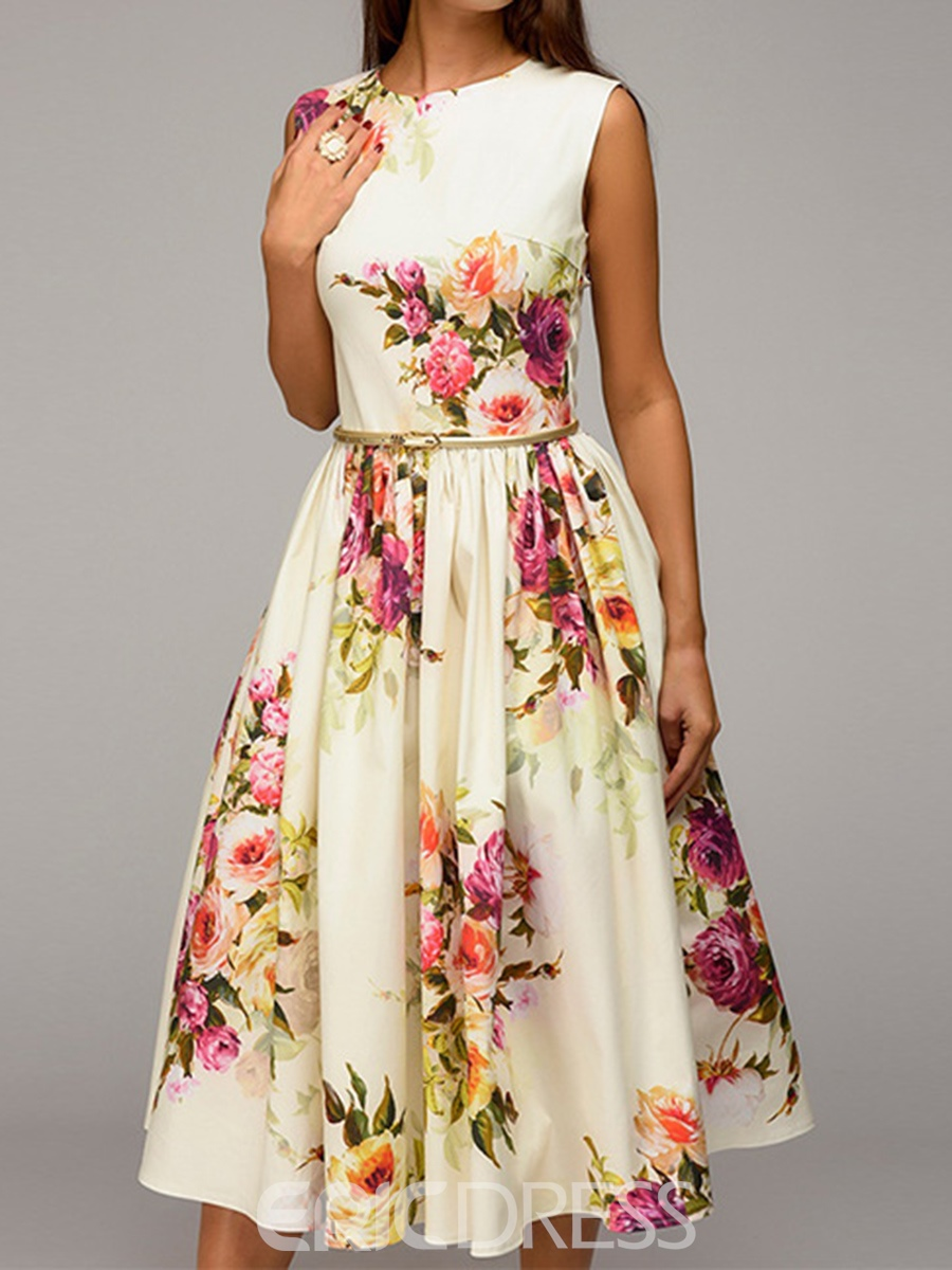Ericdress Beige Floral Scoop Sleeveless A-Line Dress